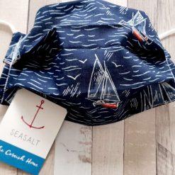 Face mask. Sailing boats on blue  Seasalt Cornwall cotton fabric