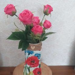 Poppy Decoupaged Vase