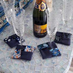 Fabric wine coasters. Set of 4