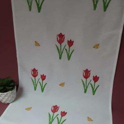 Handprinted cotton tea towel with Spring tulip design.