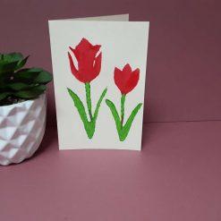 Lino print tulip design card for all occasions.