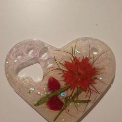 Heart paw print encased flower