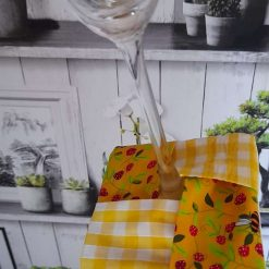 Fabric wine coasters. Set of 4 bees in the garden print