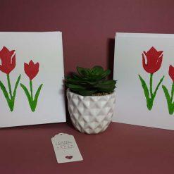 Lino print Spring tulips design blank card.