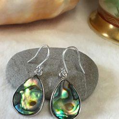 Abalone Shell Tear Drop earrings Silver