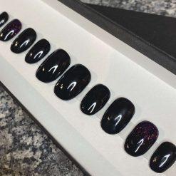 """Black Sparkle"" Press on Nails"
