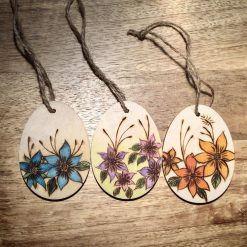 Pyrography Hand Burnt and Painted Wooden Egg Shapes