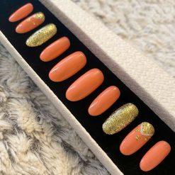 """Coral Orange Gold"" Press on Nails"