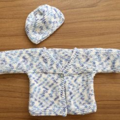 Hand Knitted Baby Cardigan and Hat - Newborn