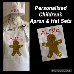 Personalised Children's Apron and Hat Set Gingerbread
