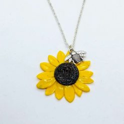 Sunflower- handmade polymer clay bright yellow sunflower pendant with bumble bee pendant (Copy)