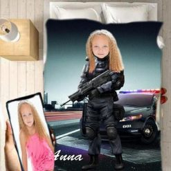 Personalised Police Girl Blanket Baby Home Decor Kids Nursery Room Decor Baby Gifts