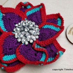 Red & Purple Crochet Flower Brooch
