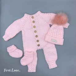 Stunning Hand Knitted Baby Pink Girls Outfit