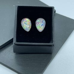 Opal effect teardrop resin earrings