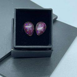 Pink glitter teardrop resin earrings