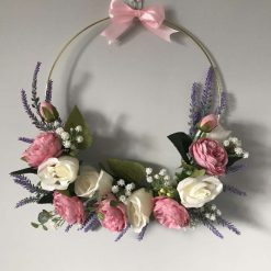 Gorgeous Gold Hoop silk cream rose and pink peony wreath