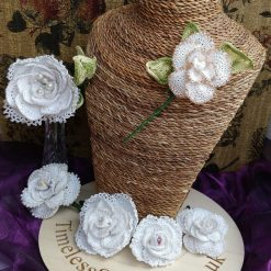 White Crochet Rose Collection Ideal for Weddings