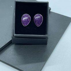Purple glitter teardrop resin earrings