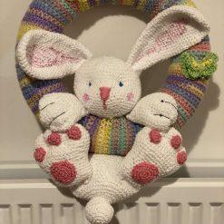 Bunny rainbow nursery wall wreath