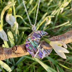 Paua Shell Moon | crystal necklace/pendant