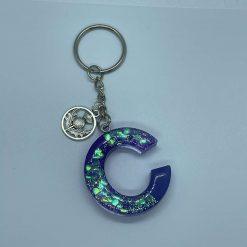 Scottish thistle purple resin initial keyring