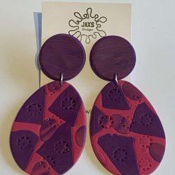 Purple oval dangle earrings