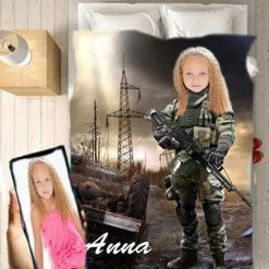 Personalised Soldier Girl Blanket Baby Home Decor Kids Nursery Room Decor Baby Gifts