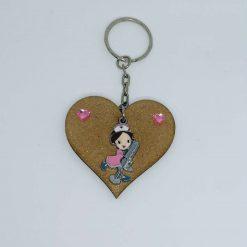 Nurse Handbag Charm Keyring Pink Heart