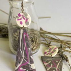 Triangle polymer clay dangle earrings 1