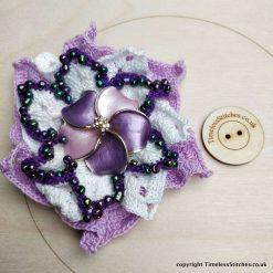 Lilac Carnival Beaded Brooch Hand Crochet