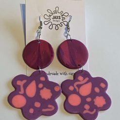 Purple flower dangle polymer clay earrings