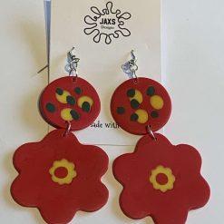 Flower double dangle polymer clay earrings