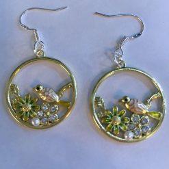 Bird and flower hoop earrings