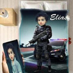 Personalised Police Boy Blanket Baby Home Decor Kids Nursery Room Decor Baby Gifts