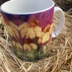 Single ceramic mug with printed design of original needle-felt artwork / Free P/P