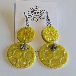 Polymer clay honey bee dangle earrings