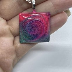 Handmade square resin necklace with feathering effect