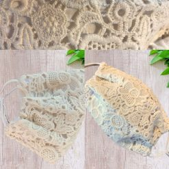 Personalised Crochet Wedding Face mask covering Double layered with filter pocket