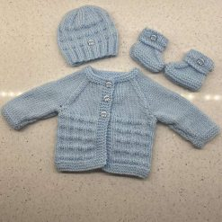 Baby Hand Knitted Cardigan & Hat Set (style 2)
