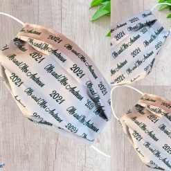 Personalised Wedding Guest Face mask covering Double layered with filter pocket