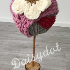 Wool Flower Beanie Hat