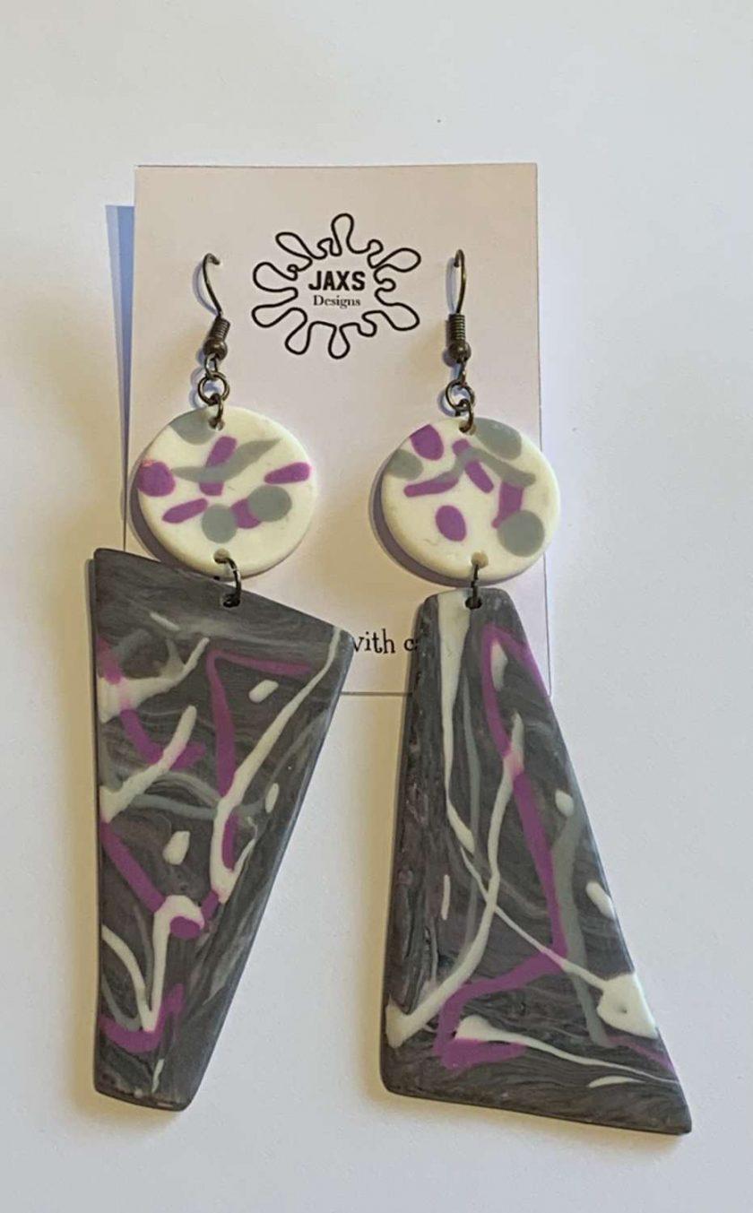 Triangle polymer clay dangle earrings