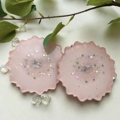 Pink & Silver Mandala Coasters