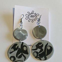 Grey and black polymer dangle earrings