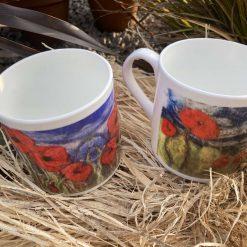 Set of 2 porcelain mugs with original printed art work - poppy design / Free p/p SOLD