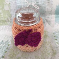 Orange Crochet Jar Cosy with Jar