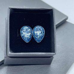 Blue glitter teardrop resin earrings