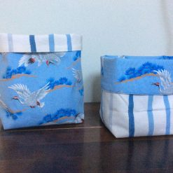 Reversible Set of 2 Baskets in Laura Ashley Painterly Stripe Blue and Craine Cotton