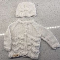 Baby Hand Knitted Cardigan, Pinafore, Hat & Bootee Set (Made to Order) style 6